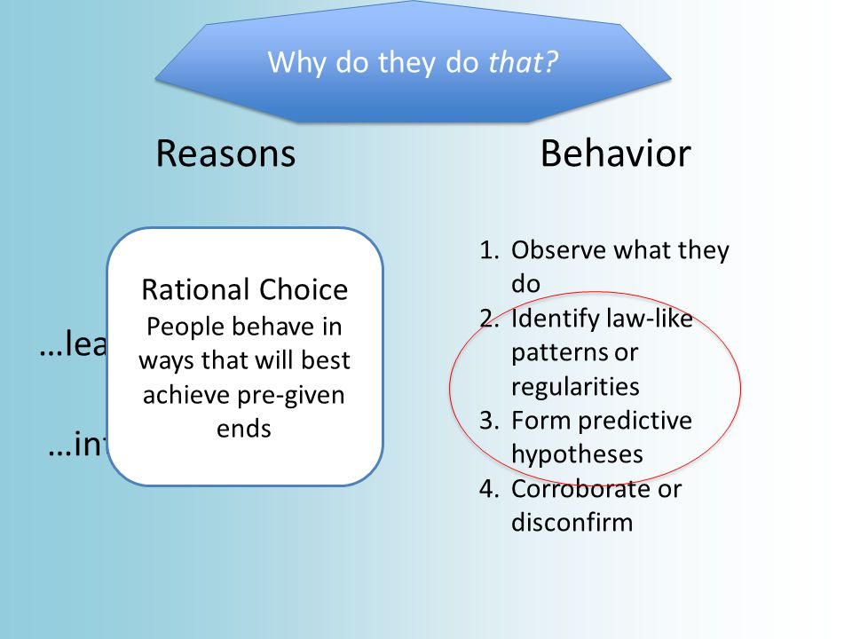 Behavior Rational Choice People behave in ways that will best achieve pre-given ends From Biology Infer them from behavior preferences To behave rationally is to maximally satisfy ones