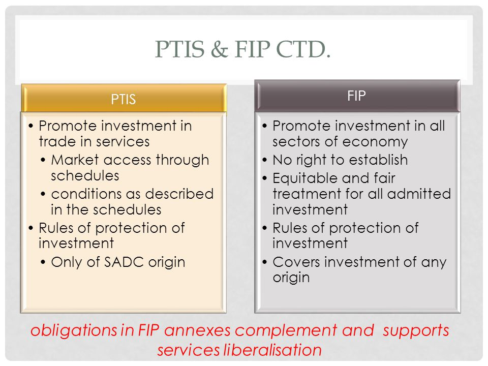 PTIS & FIP CTD. PTIS Promote investment in trade in services Market access through schedules conditions as described in the schedules Rules of protect