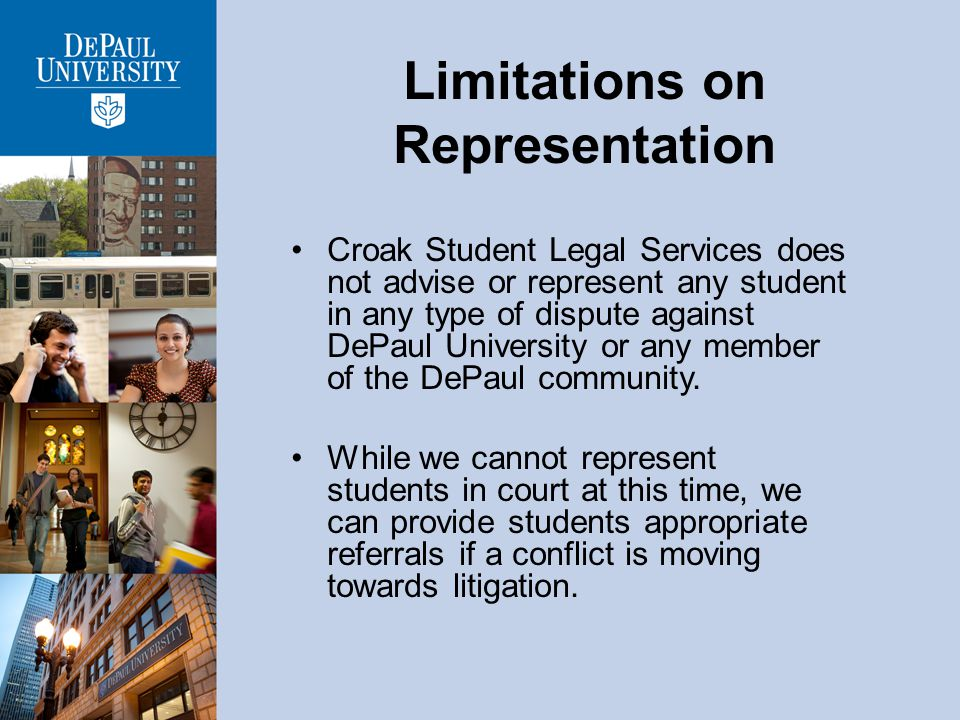 Preventive Education Croak Student Legal Servicess mission is to help prevent disruption to students education due to legal problems.