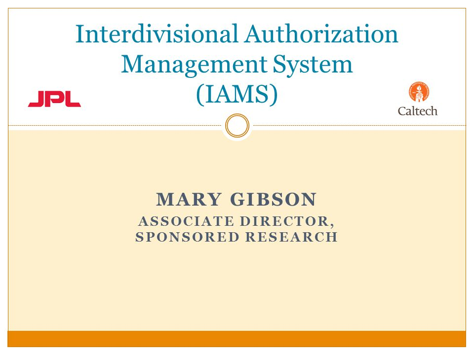 MARY GIBSON ASSOCIATE DIRECTOR, SPONSORED RESEARCH Interdivisional Authorization Management System (IAMS)