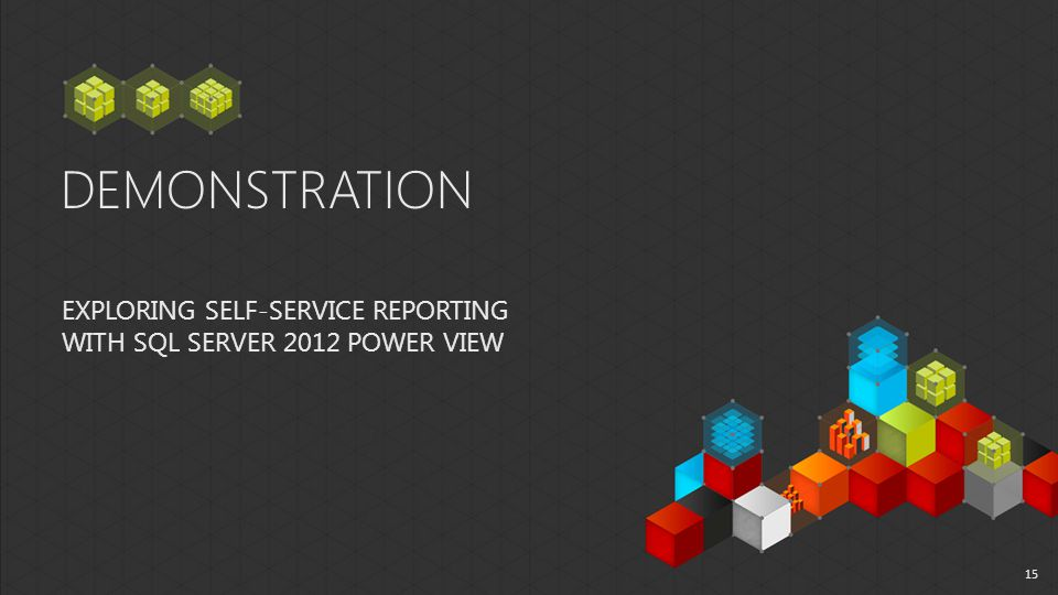DEMONSTRATION EXPLORING SELF-SERVICE REPORTING WITH SQL SERVER 2012 POWER VIEW 15