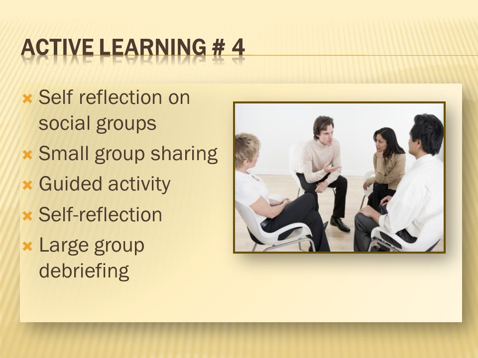 Self reflection on social groups Small group sharing Guided activity Self-reflection Large group debriefing