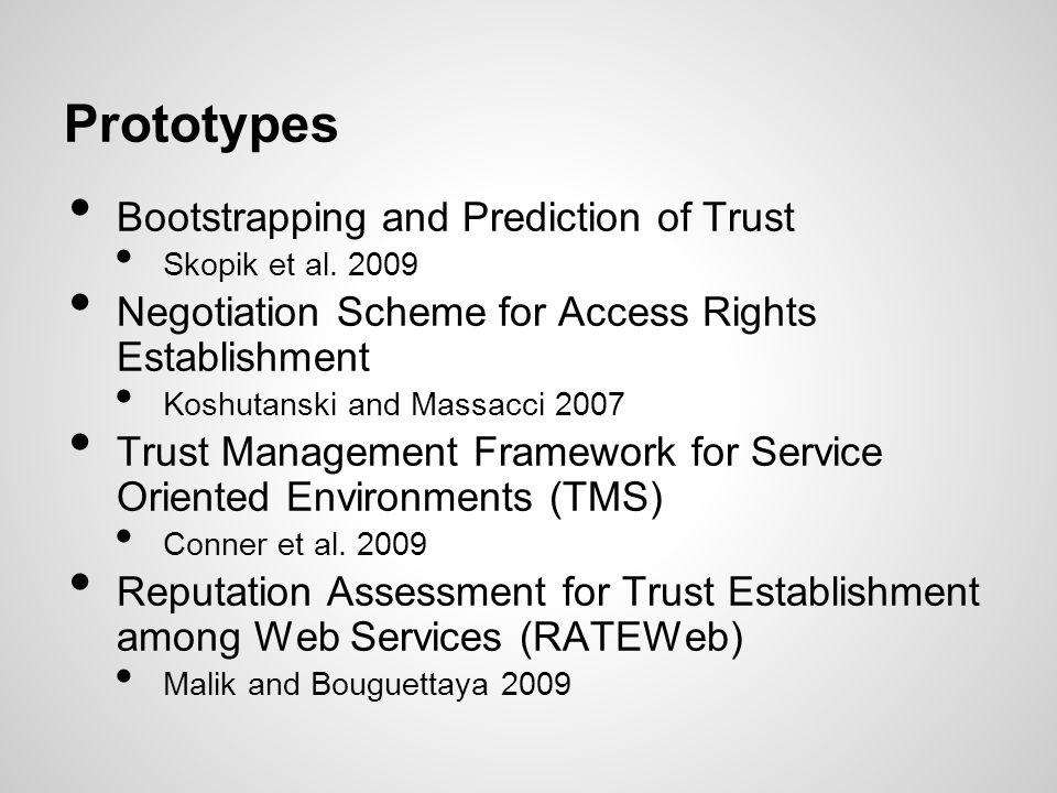 Prototypes Bootstrapping and Prediction of Trust Skopik et al. 2009 Negotiation Scheme for Access Rights Establishment Koshutanski and Massacci 2007 T