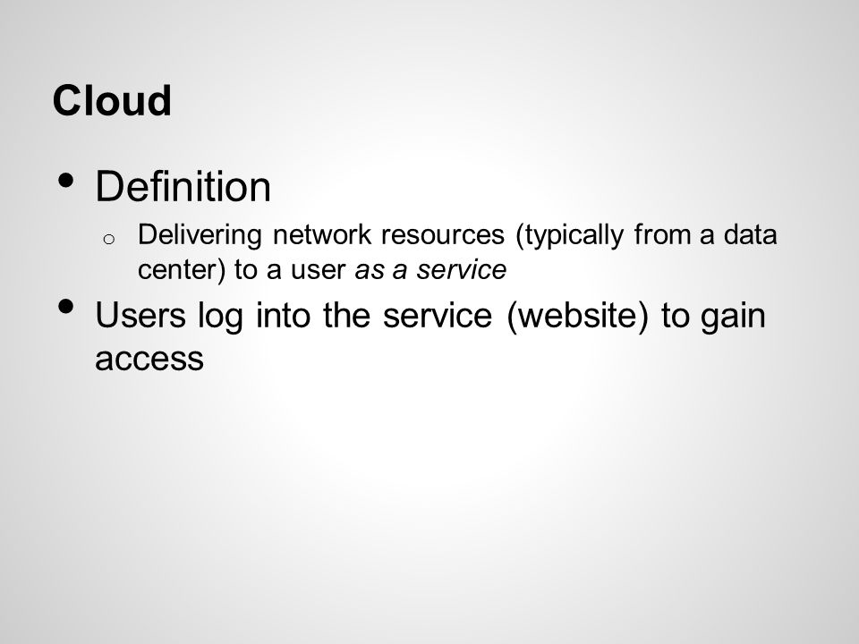 Types of Cloud Infrastructure as a Service Platform as a Service Software as a Service