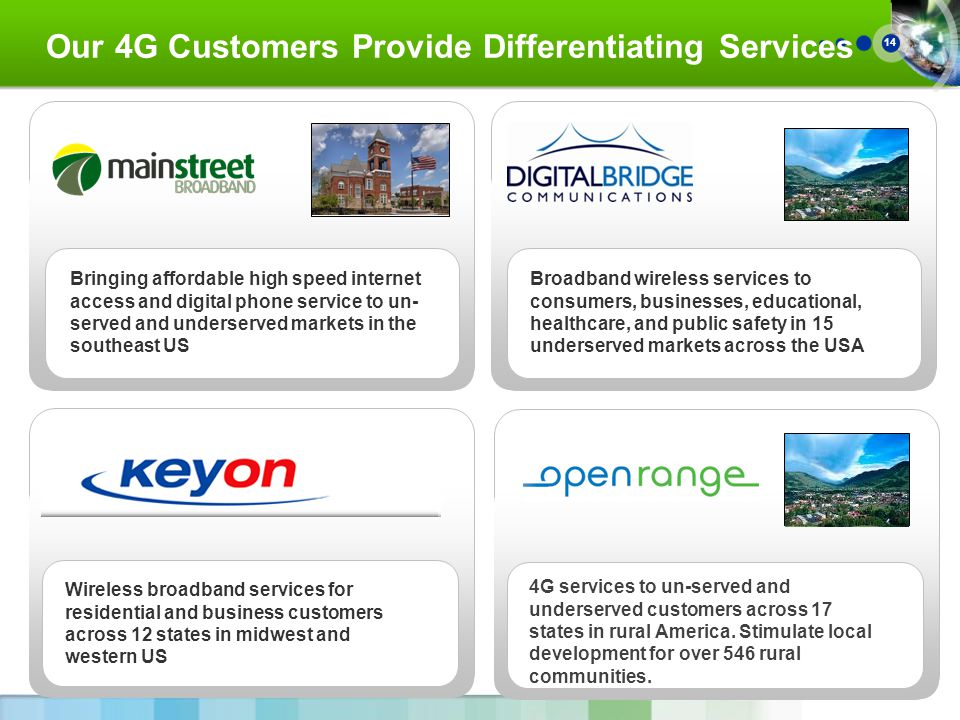 14 Our 4G Customers Provide Differentiating Services Wireless broadband services for residential and business customers across 12 states in midwest and western US Broadband wireless services to consumers, businesses, educational, healthcare, and public safety in 15 underserved markets across the USA Bringing affordable high speed internet access and digital phone service to un- served and underserved markets in the southeast US 4G services to un-served and underserved customers across 17 states in rural America.