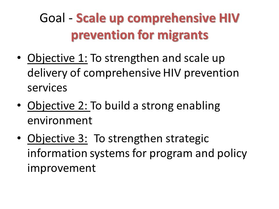 Scale up comprehensive HIV prevention for migrants Goal - Scale up comprehensive HIV prevention for migrants Objective 1: To strengthen and scale up delivery of comprehensive HIV prevention services Objective 2: To build a strong enabling environment Objective 3: To strengthen strategic information systems for program and policy improvement
