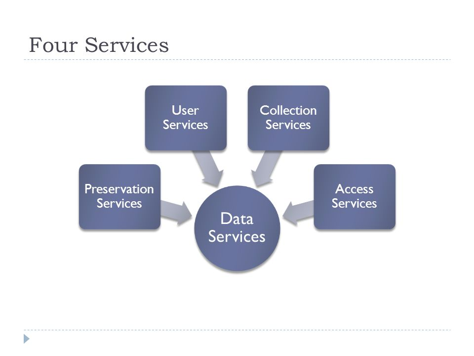 Four services Collection Services Access Services Preservation Services User Services You decide what mix of services you provide.