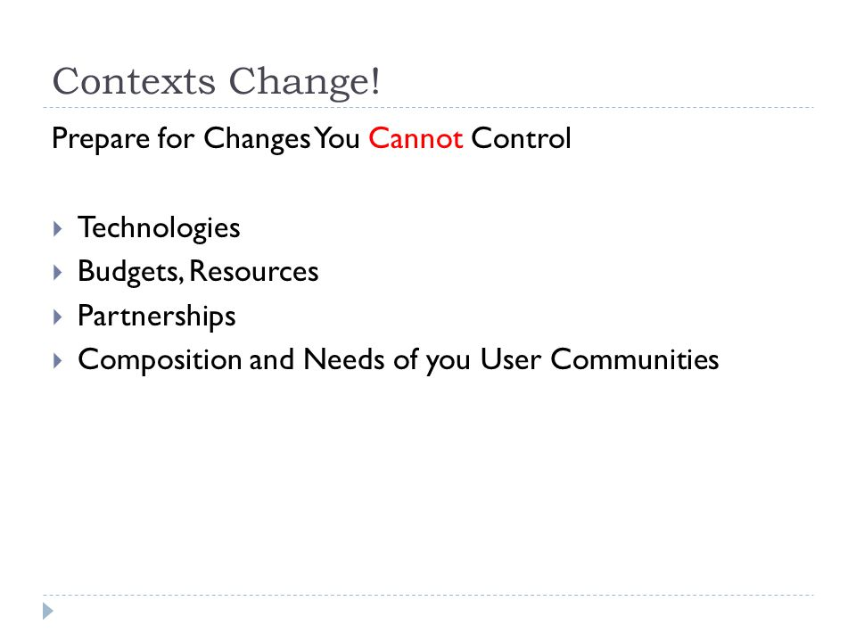 Contexts Change! Prepare for Changes You Cannot Control Technologies Budgets, Resources Partnerships Composition and Needs of you User Communities