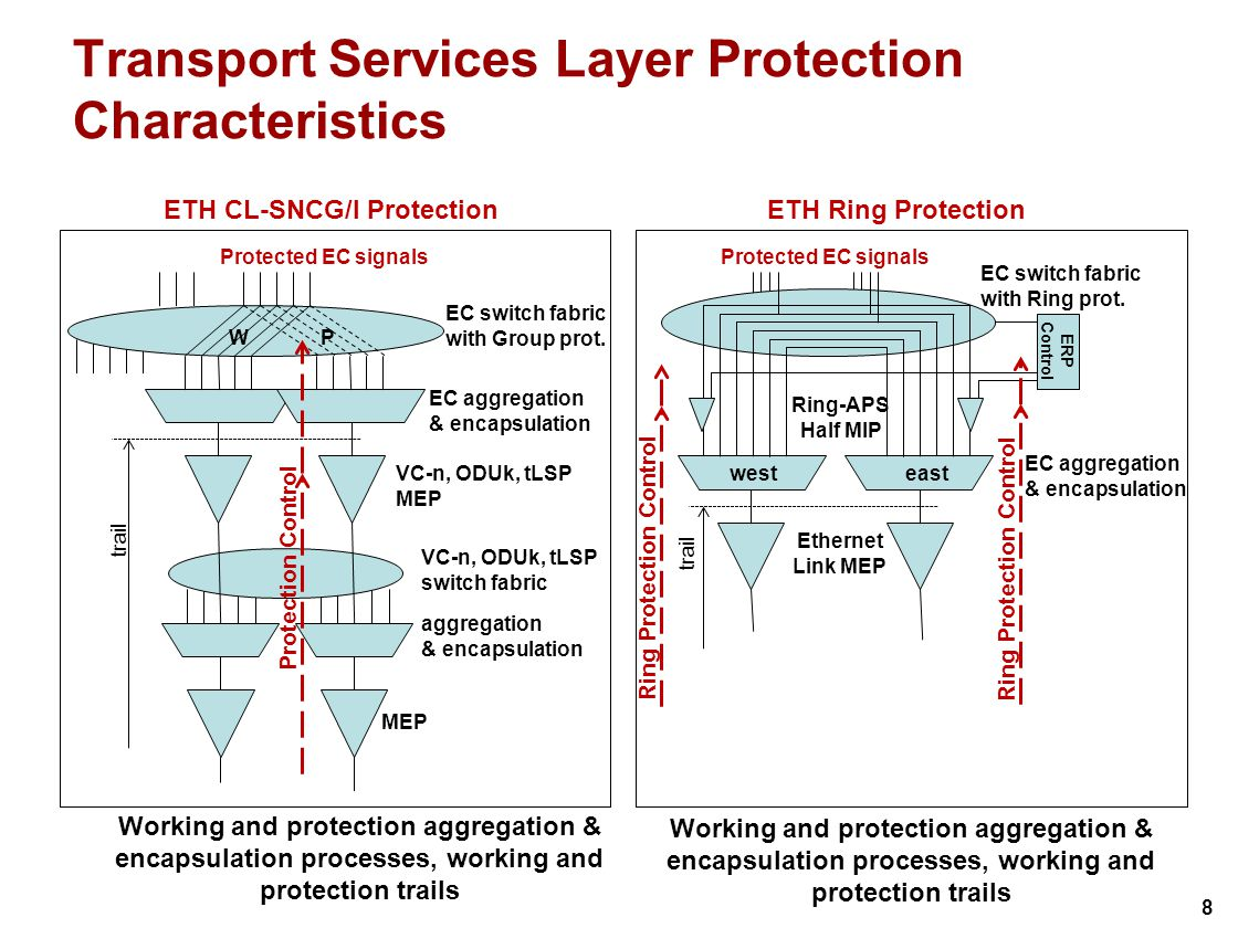 8 Transport Services Layer Protection Characteristics ETH CL-SNCG/I Protection VC-n, ODUk, tLSP MEP EC aggregation & encapsulation Protected EC signals VC-n, ODUk, tLSP switch fabric MEP trail aggregation & encapsulation WP EC switch fabric with Group prot.
