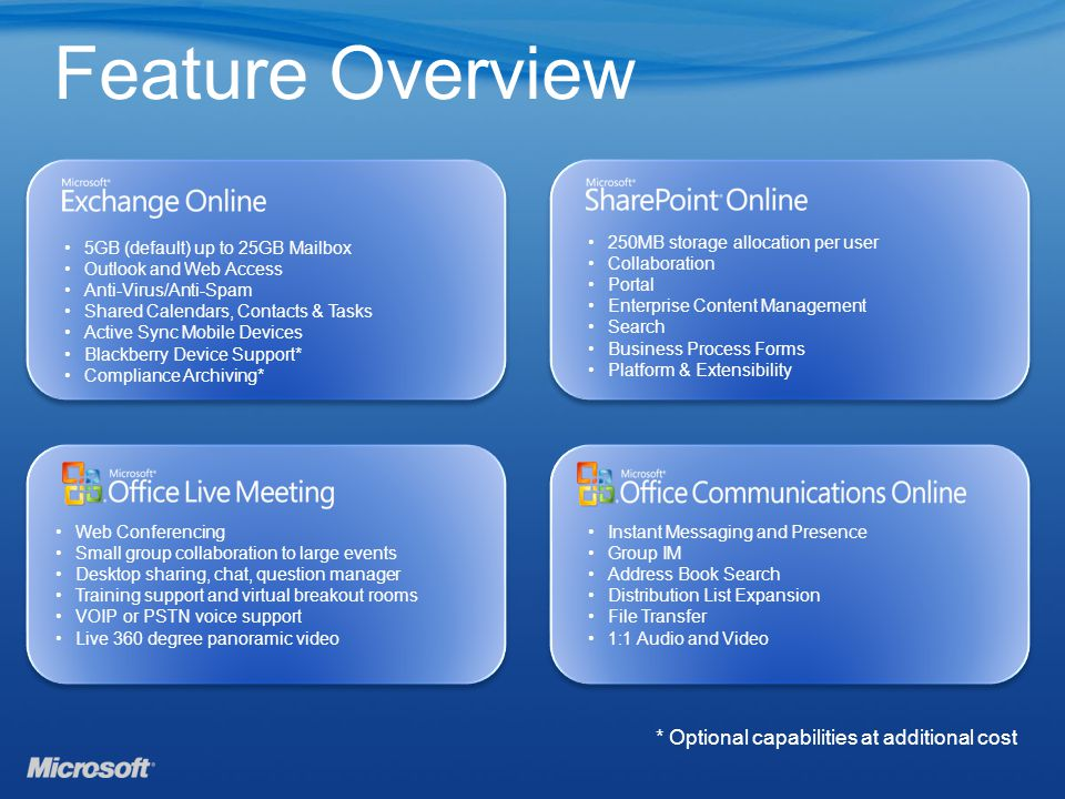 Feature Overview 5GB (default) up to 25GB Mailbox Outlook and Web Access Anti-Virus/Anti-Spam Shared Calendars, Contacts & Tasks Active Sync Mobile Devices Blackberry Device Support* Compliance Archiving* 250MB storage allocation per user Collaboration Portal Enterprise Content Management Search Business Process Forms Platform & Extensibility Web Conferencing Small group collaboration to large events Desktop sharing, chat, question manager Training support and virtual breakout rooms VOIP or PSTN voice support Live 360 degree panoramic video Instant Messaging and Presence Group IM Address Book Search Distribution List Expansion File Transfer 1:1 Audio and Video * Optional capabilities at additional cost