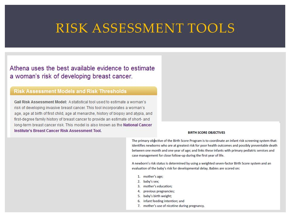 RISK ASSESSMENT TOOLS
