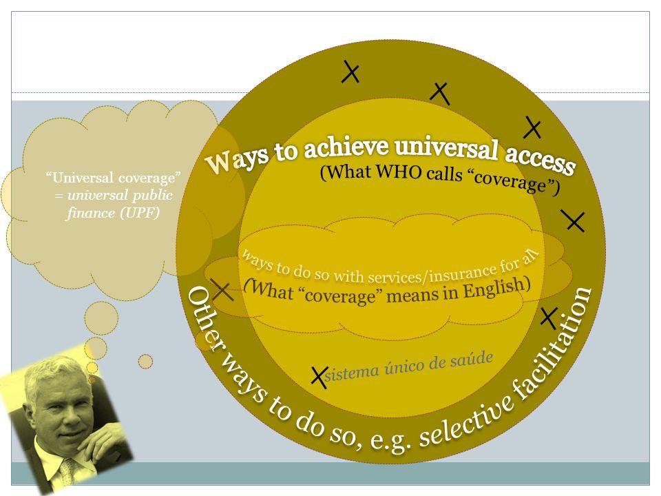 Universal coverage = universal public finance (UPF) sistema único de saúde