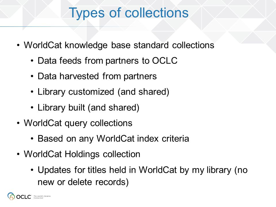 Types of collections WorldCat knowledge base standard collections Data feeds from partners to OCLC Data harvested from partners Library customized (an