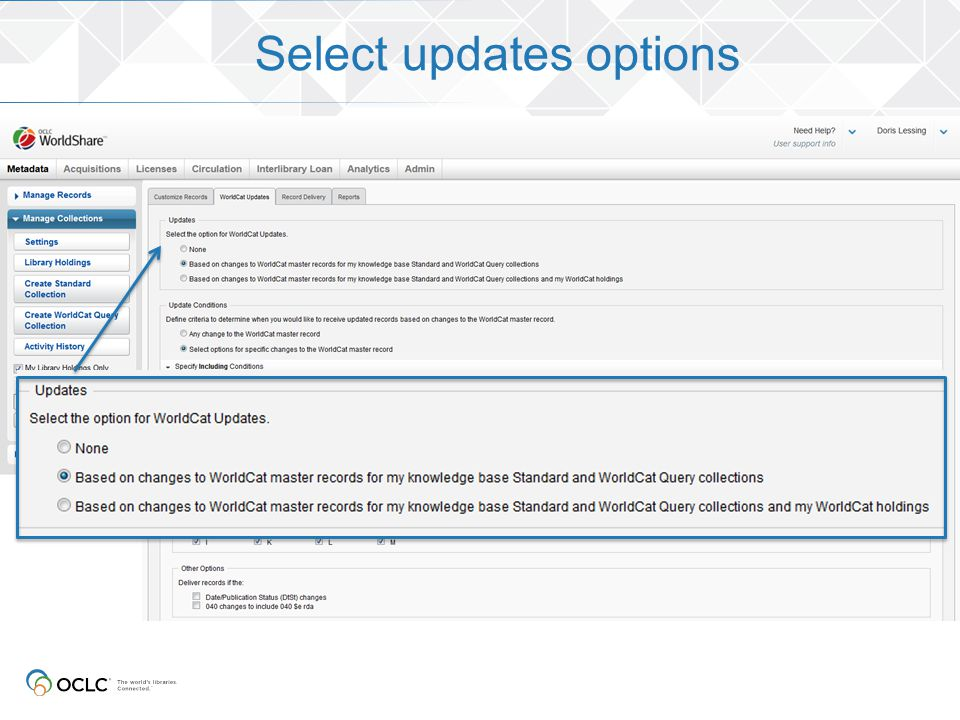 Select updates options