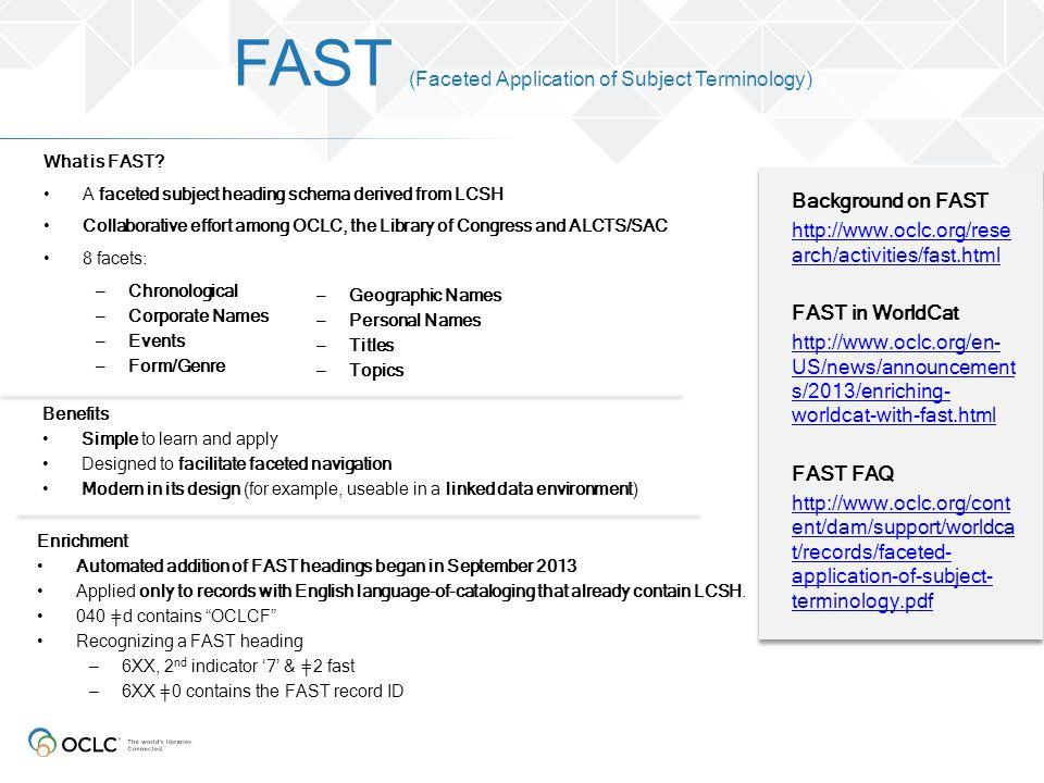 FAST (Faceted Application of Subject Terminology) What is FAST? A faceted subject heading schema derived from LCSH Collaborative effort among OCLC, th
