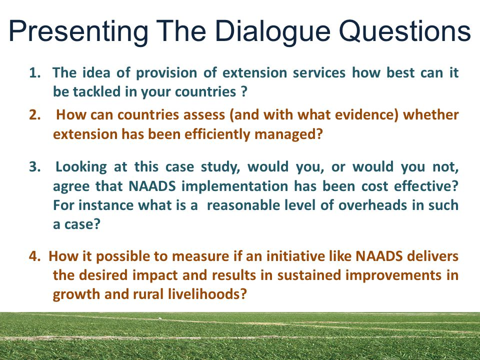 Presenting The Dialogue Questions 1.
