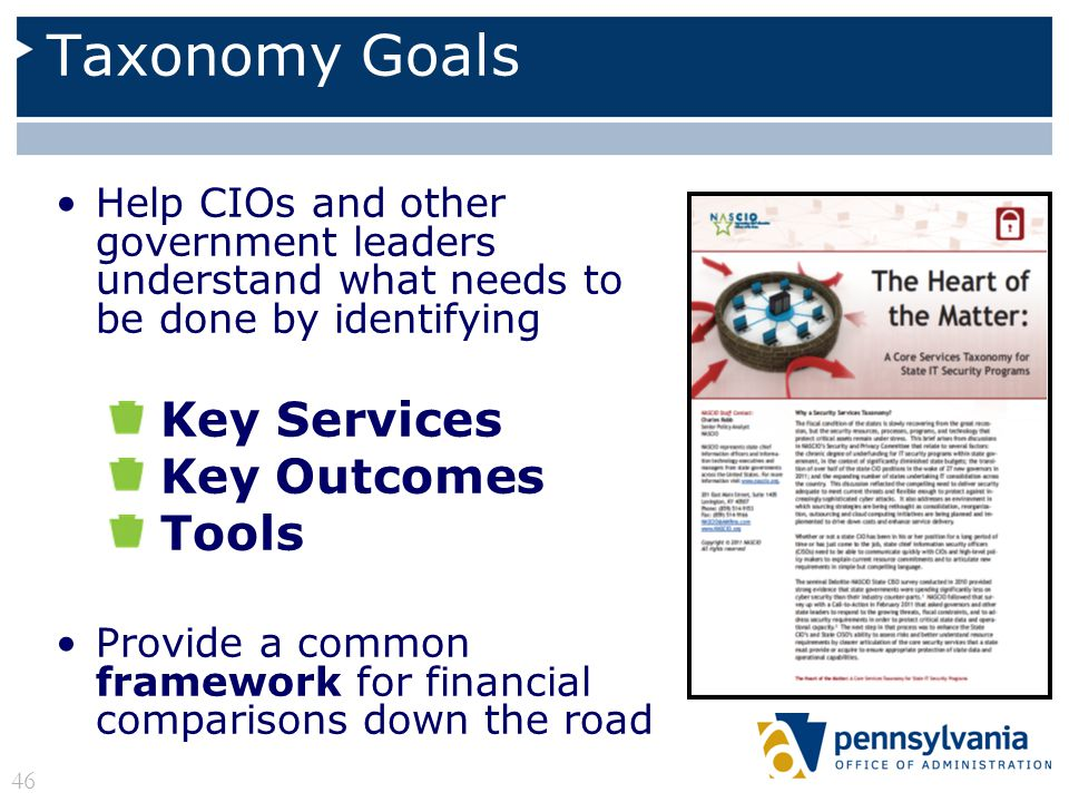 Taxonomy Goals Help CIOs and other government leaders understand what needs to be done by identifying Key Services Key Outcomes Tools Provide a common