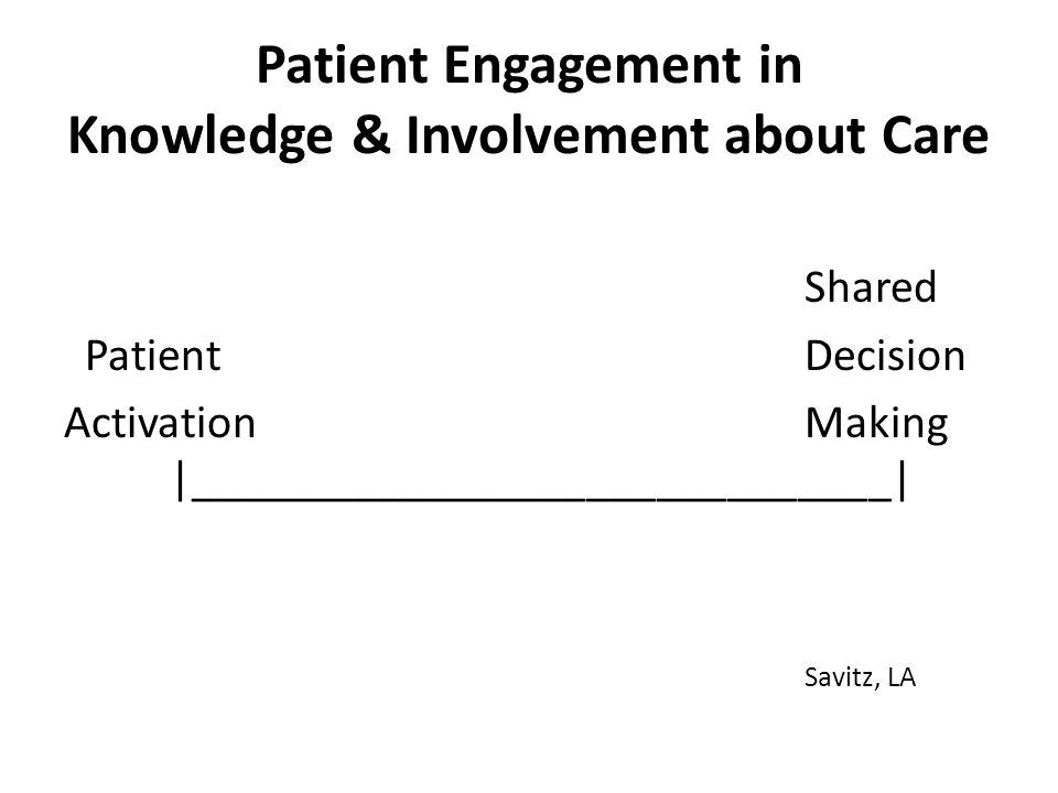 Patient Engagement in Knowledge & Involvement about Care Shared Patient Decision ActivationMaking |______________________________| Savitz, LA
