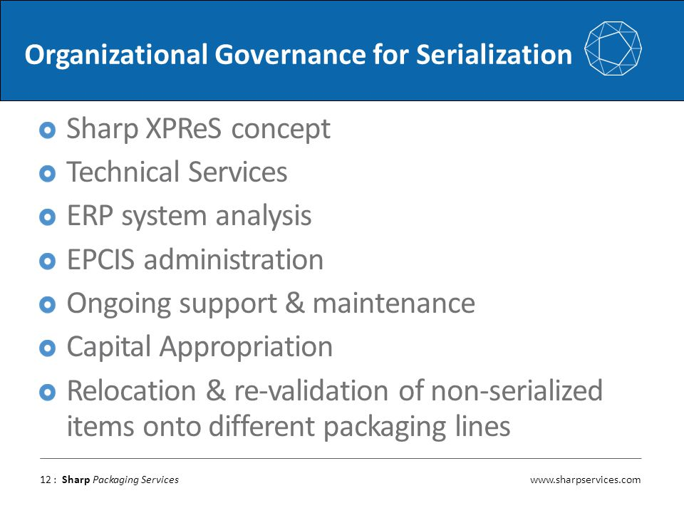 www.sharpservices.com : Sharp Packaging Services Organizational Governance for Serialization Sharp XPReS concept Technical Services ERP system analysi