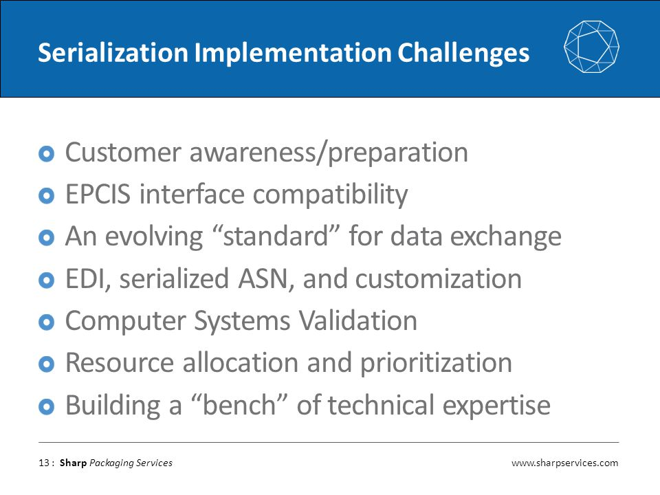 www.sharpservices.com : Sharp Packaging Services Serialization Implementation Challenges Customer awareness/preparation EPCIS interface compatibility