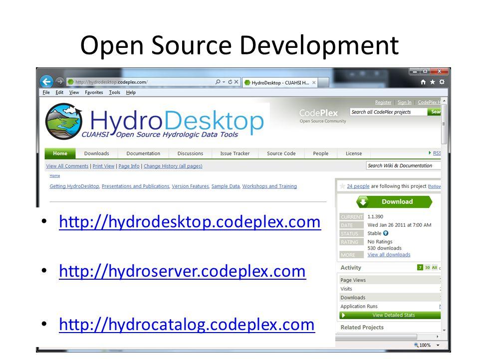 Open Source Development http://hydrodesktop.codeplex.com http://hydroserver.codeplex.com http://hydrocatalog.codeplex.com