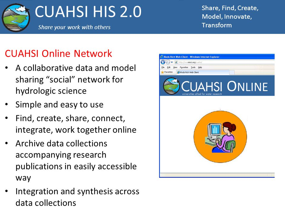 CUAHSI Online Network A collaborative data and model sharing social network for hydrologic science Simple and easy to use Find, create, share, connect, integrate, work together online Archive data collections accompanying research publications in easily accessible way Integration and synthesis across data collections Share, Find, Create, Model, Innovate, Transform CUAHSI HIS 2.0 Share your work with others