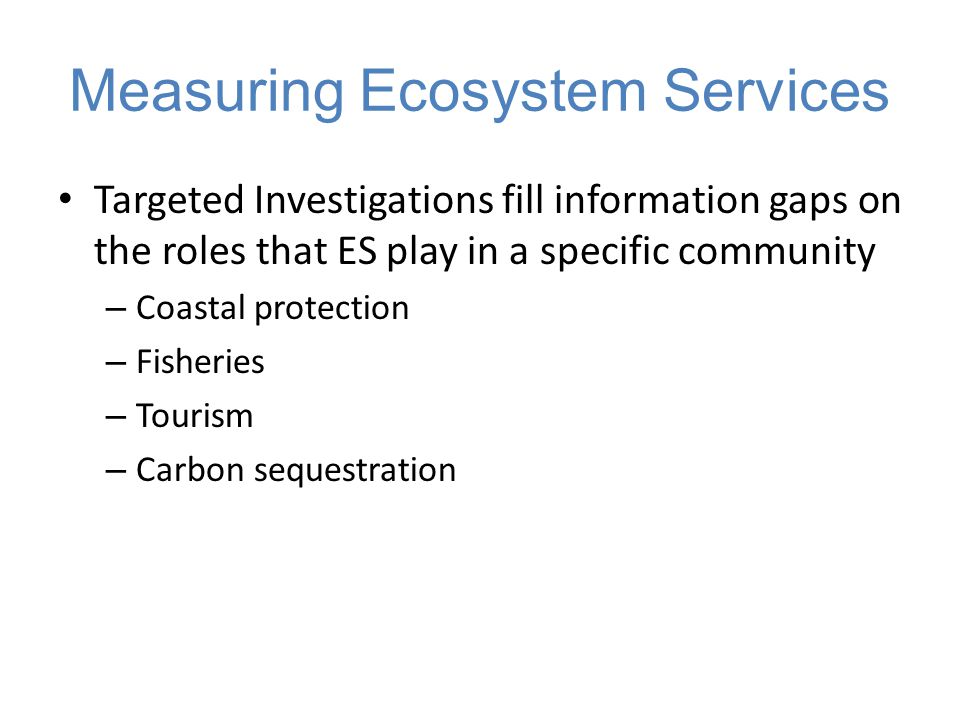 Targeted Investigations fill information gaps on the roles that ES play in a specific community – Coastal protection – Fisheries – Tourism – Carbon se