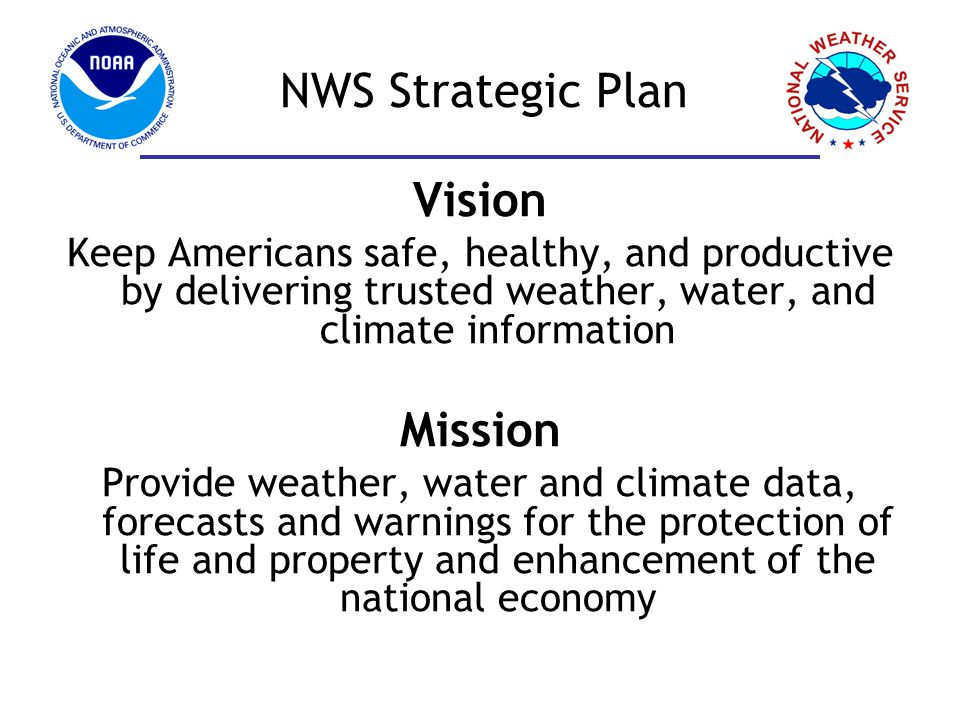 NWS Strategic Plan Goals 1.Improve weather decision services for events that threaten safety, health, the environment, economic productivity, or homeland security 2.Deliver a broader suite of improved water services to support management of Nations water supply 3.Enhance climate services to help communities, businesses, and governments understand and adapt to climate related risks 4.Improve sector-relevant information in support of economic productivity 5.Enable integrated environmental services supporting healthy communities and ecosystems 6.Sustain a highly-skilled, professional workforce equipped with the training, tools, and infrastructure to meet our mission