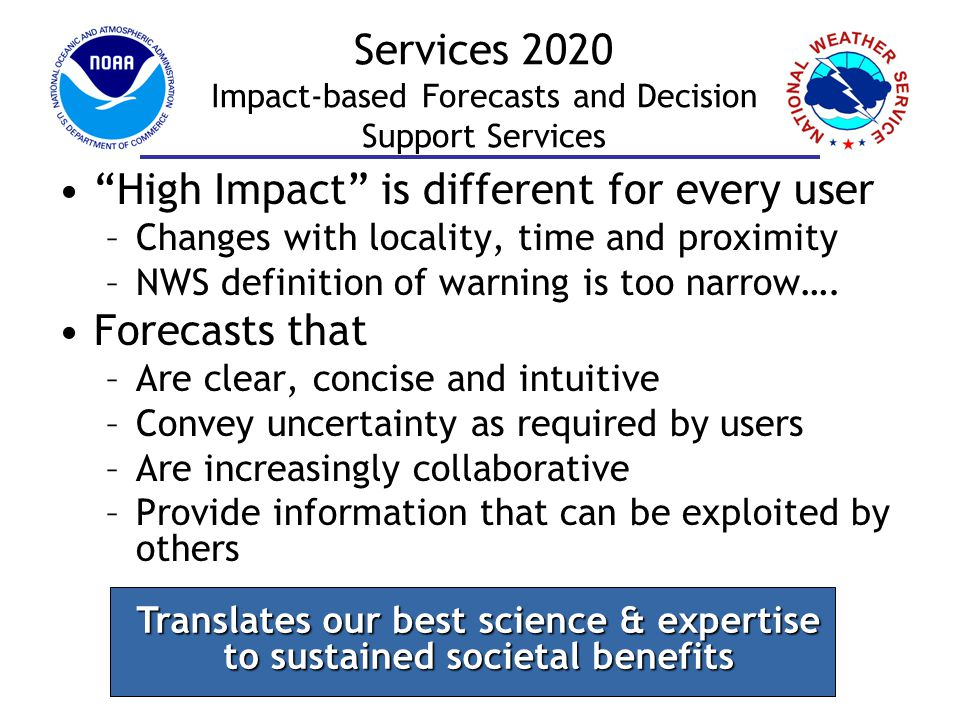 Final Thoughts Services Roadmap defines the direction of the NWS Paradigm shift to Impact-based Decision Support Services Collaboration with the Partners will be essential to maximizing value to America 17