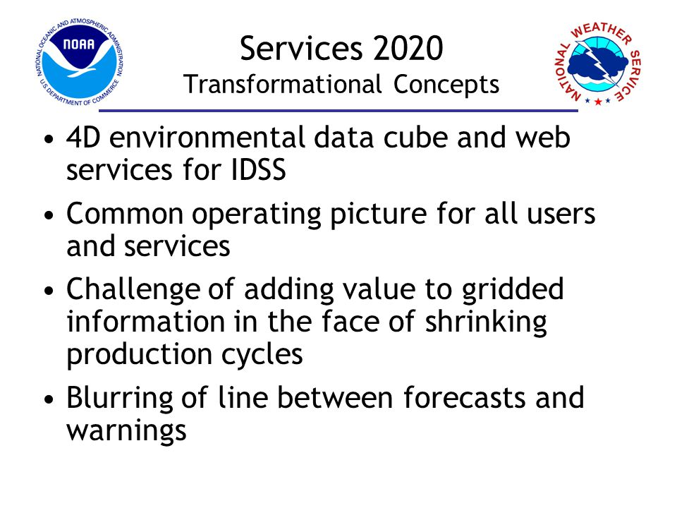Services 2020 Shift in Operational Focus Now2020 Decision Support Scientific Interpretation Drawing/Writing/ Editing Level of Effort