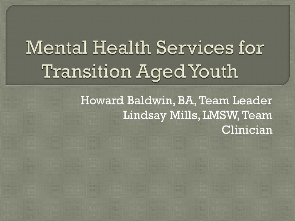 Howard Baldwin, BA, Team Leader Lindsay Mills, LMSW, Team Clinician