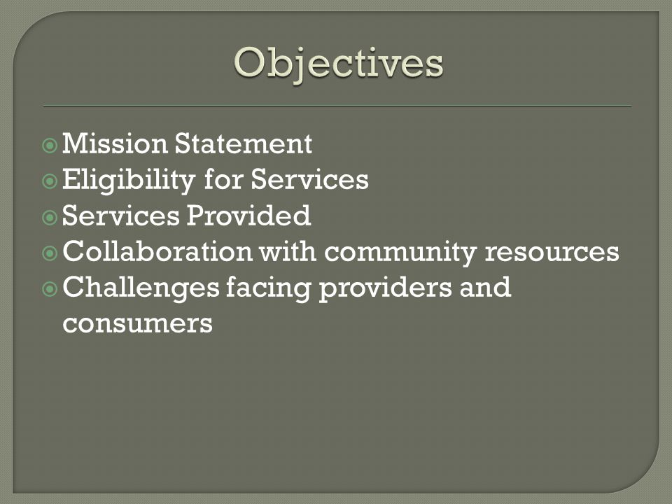 Mission Statement Eligibility for Services Services Provided Collaboration with community resources Challenges facing providers and consumers