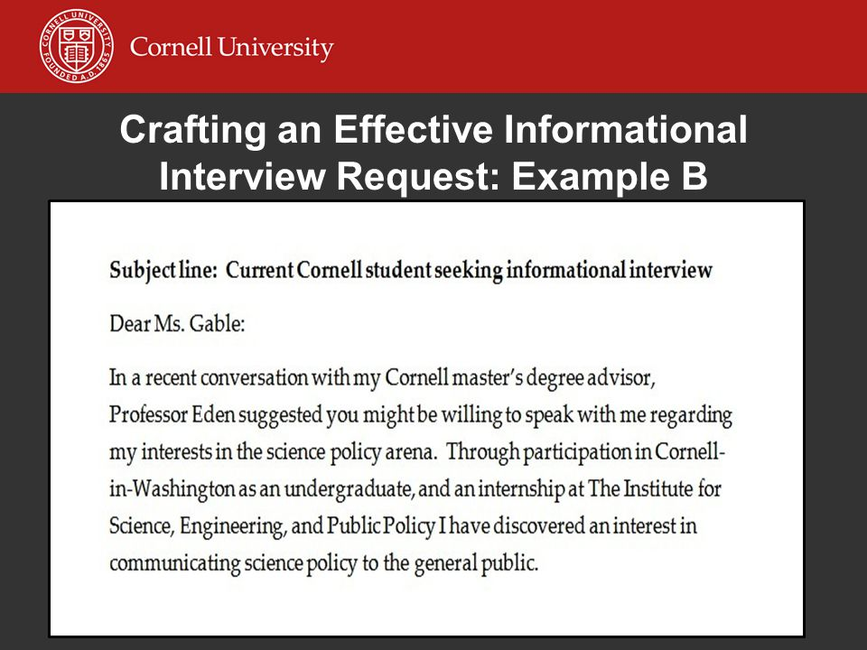 Crafting an Effective Informational Interview Request: Example B
