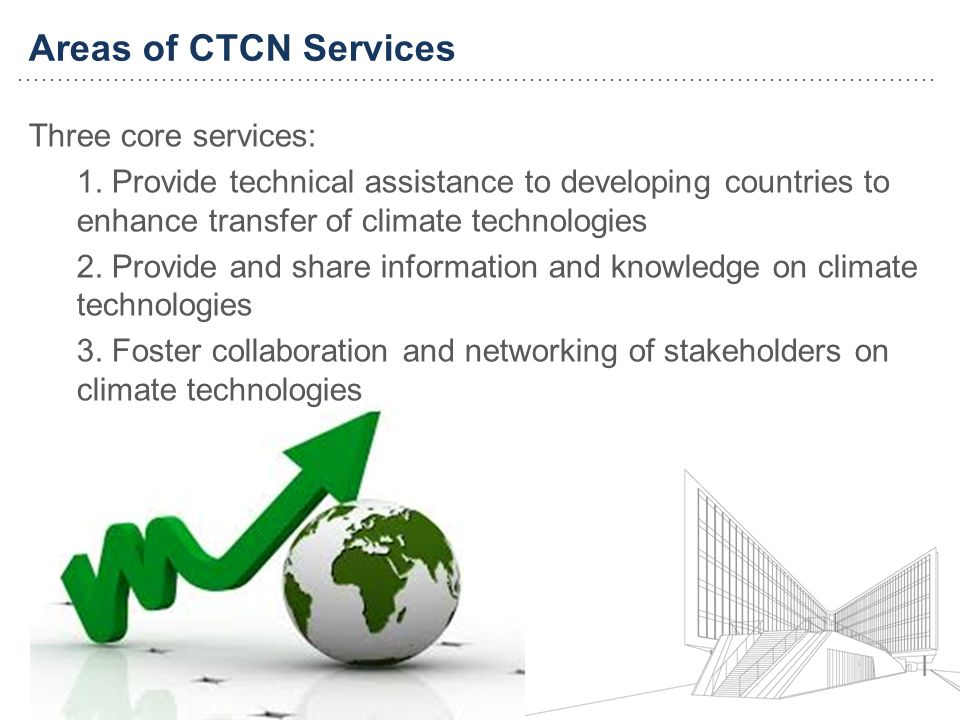 Areas of CTCN Services Three core services: 1.