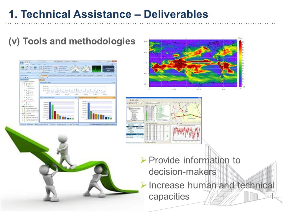 1. Technical Assistance – Deliverables (v) Tools and methodologies Provide information to decision-makers Increase human and technical capacities
