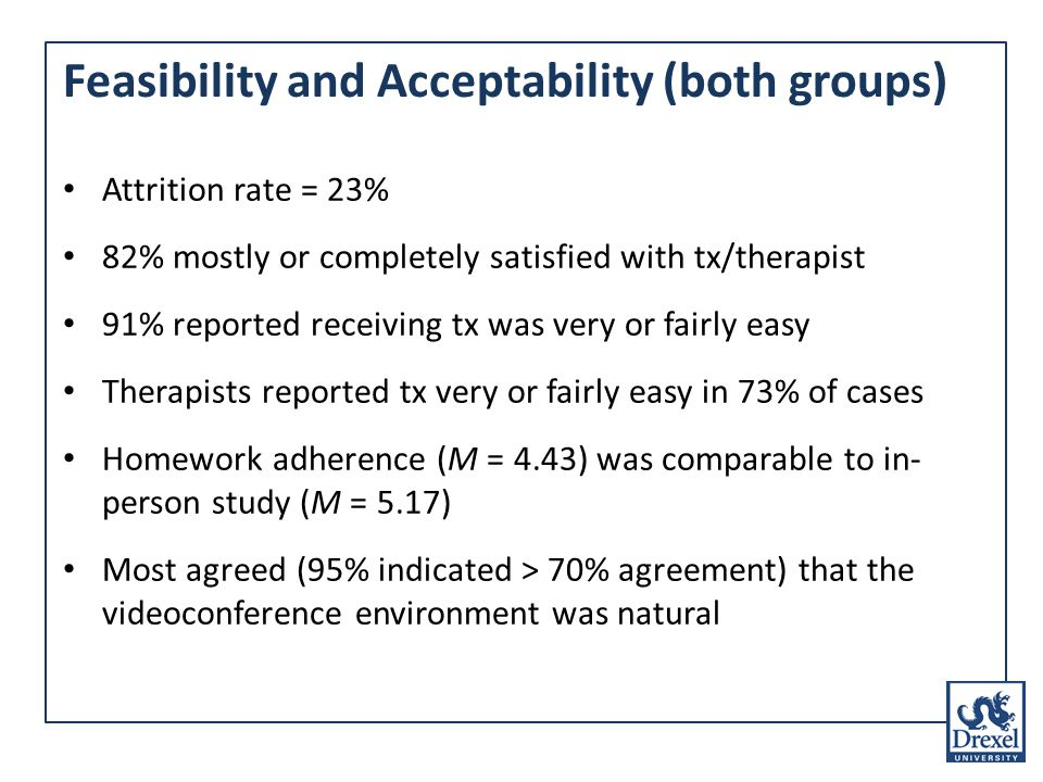 Feasibility and Acceptability (both groups) Attrition rate = 23% 82% mostly or completely satisfied with tx/therapist 91% reported receiving tx was very or fairly easy Therapists reported tx very or fairly easy in 73% of cases Homework adherence (M = 4.43) was comparable to in- person study (M = 5.17) Most agreed (95% indicated > 70% agreement) that the videoconference environment was natural