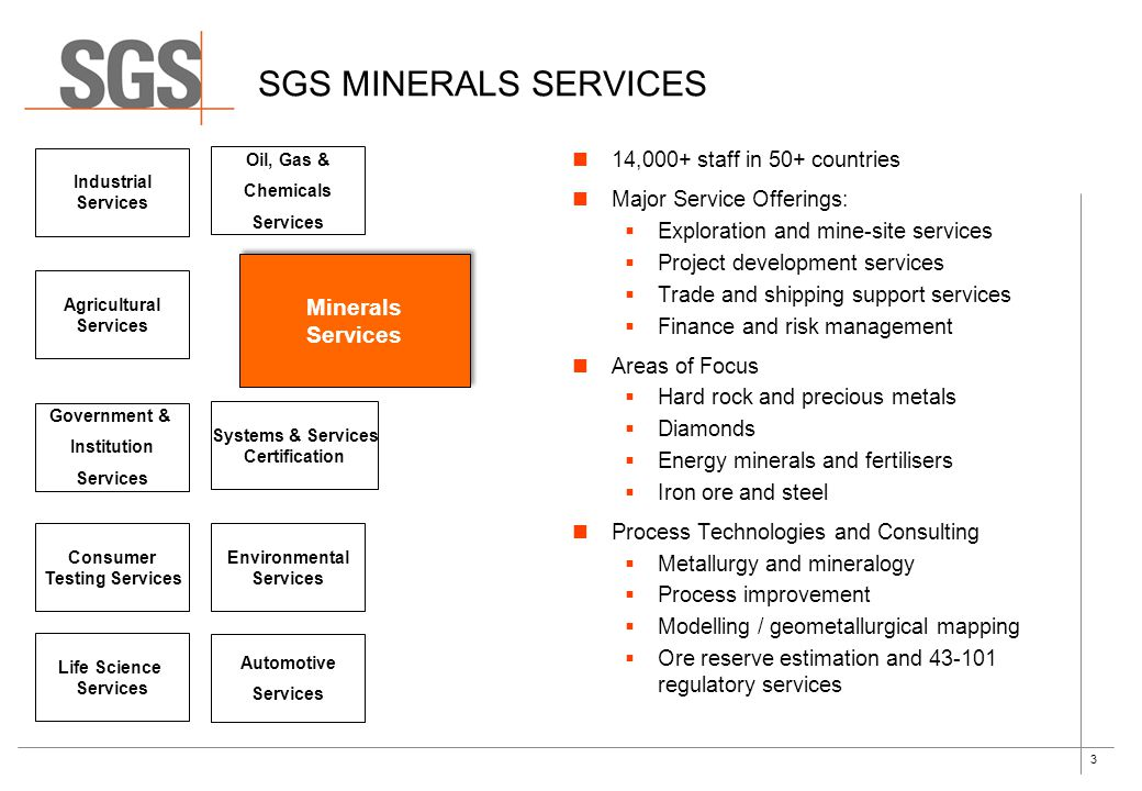 3 Life Science Services SGS MINERALS SERVICES Automotive Services Environmental Services Government & Institution Services Systems & Services Certific