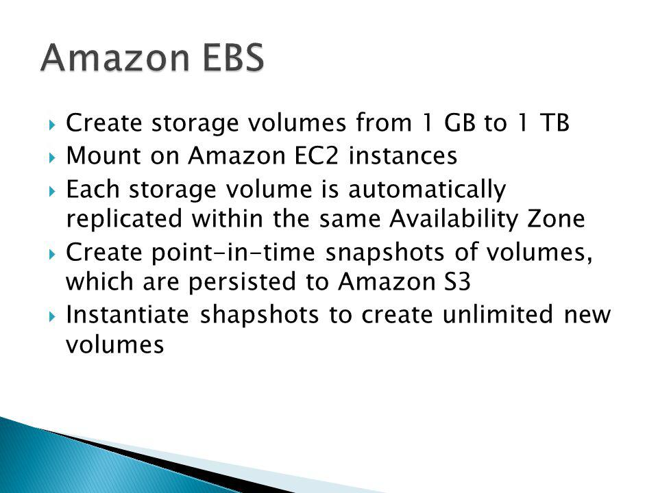 Create storage volumes from 1 GB to 1 TB Mount on Amazon EC2 instances Each storage volume is automatically replicated within the same Availability Zone Create point-in-time snapshots of volumes, which are persisted to Amazon S3 Instantiate shapshots to create unlimited new volumes