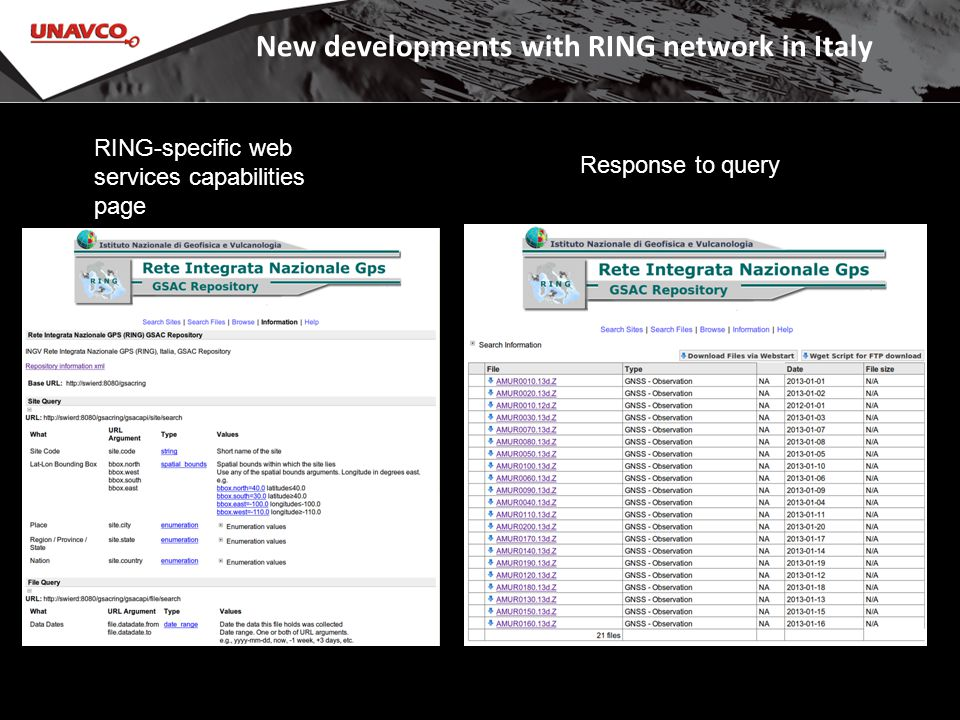 New developments with RING network in Italy RING-specific web services capabilities page Response to query