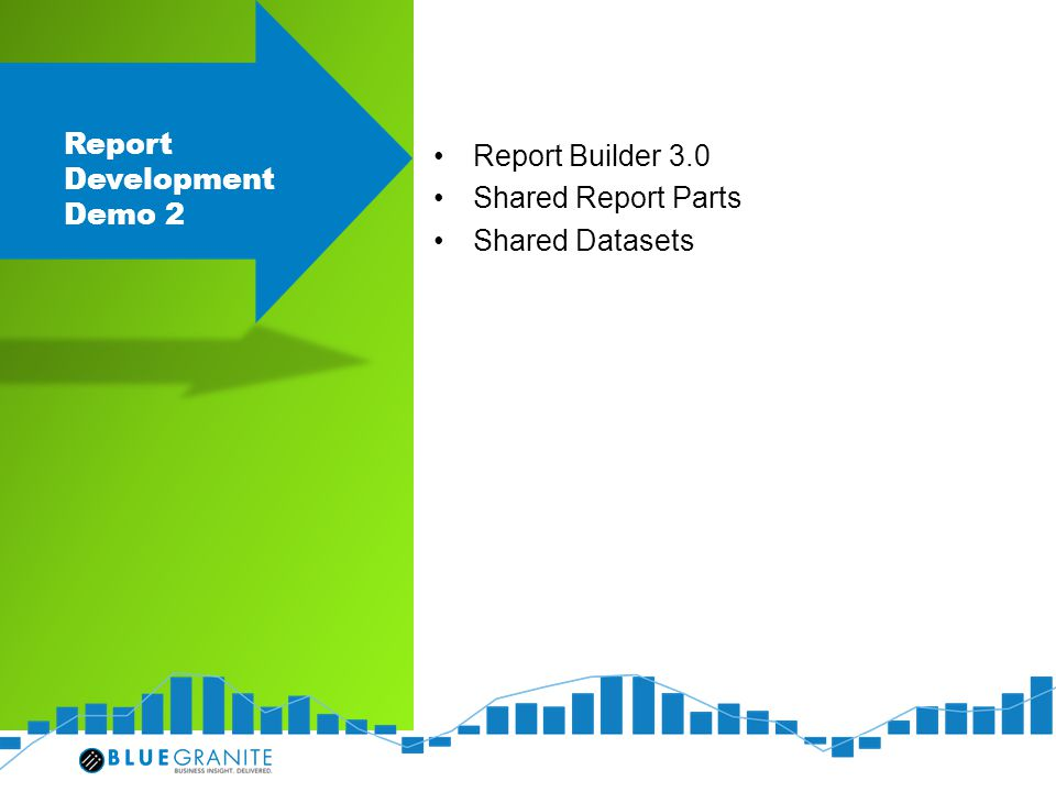 Report Development Demo 2 Report Builder 3.0 Shared Report Parts Shared Datasets