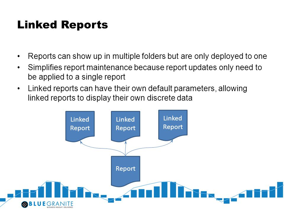 Linked Reports Reports can show up in multiple folders but are only deployed to one Simplifies report maintenance because report updates only need to