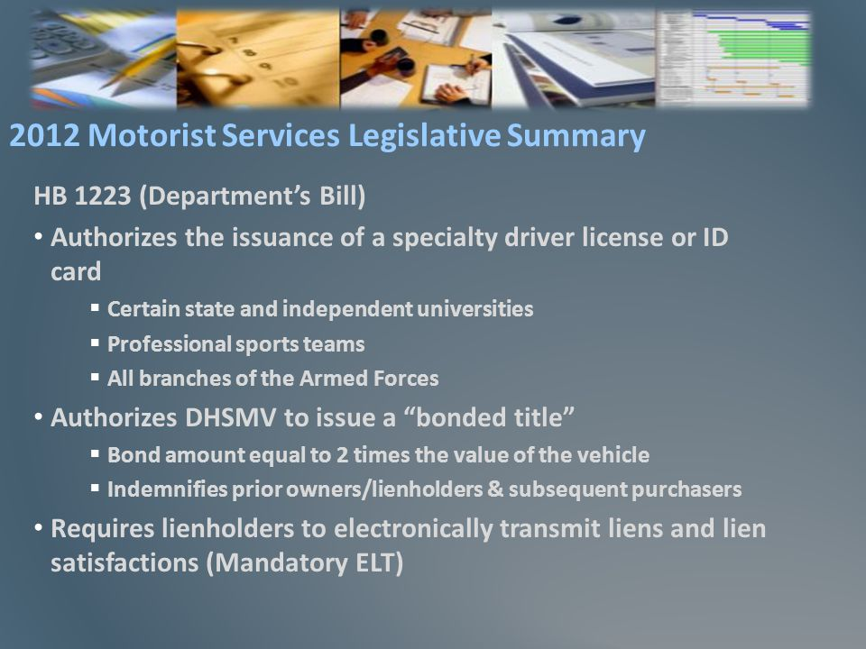 State Oversight – December 2010 With ETR and real-time submission of data, no longer a need for issuance of metal license plates Central issuance impact Tax Collectors distribute license plates – but dont audit Eliminates annual/semi-annual audits for EFS agents Cost avoidance of $28 missing license plate fee Electronic Filing System (EFS)