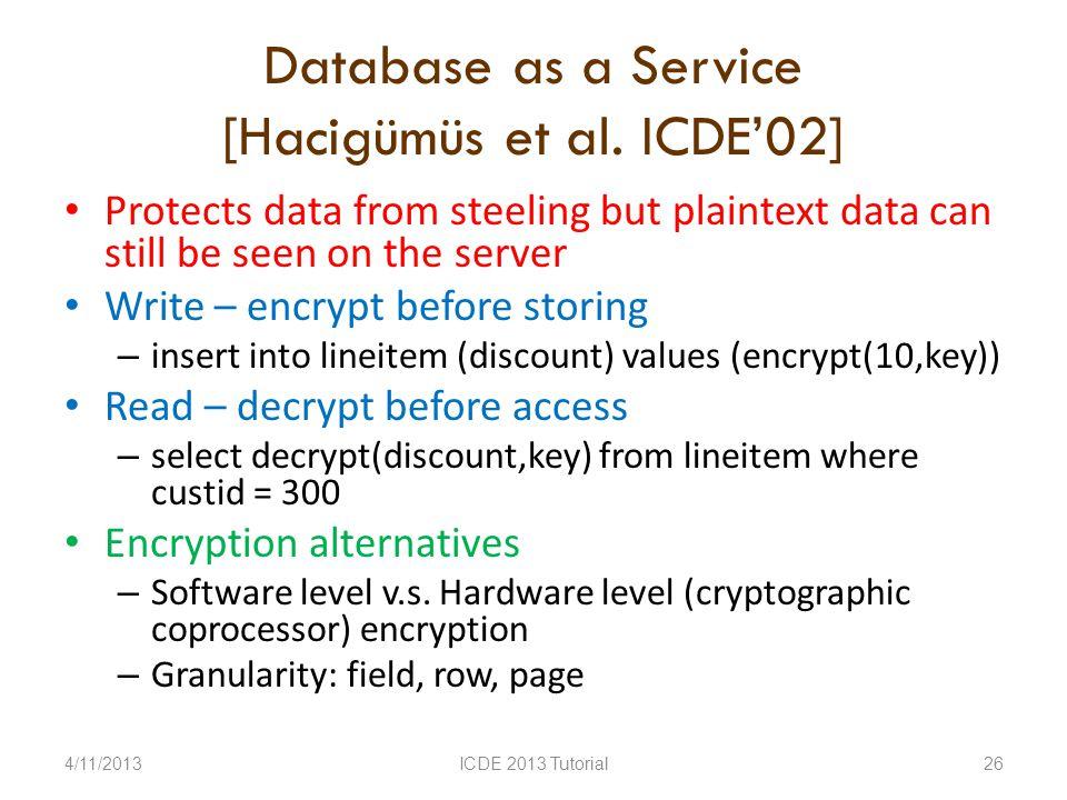 Database as a Service [Hacigümüs et al.