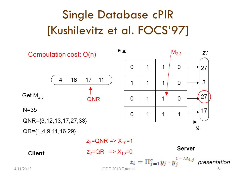 Single Database cPIR [Kushilevitz et al.