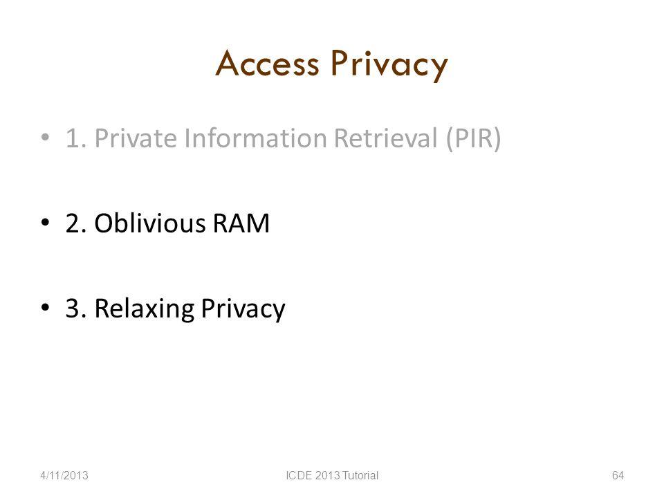 Access Privacy 1. Private Information Retrieval (PIR) 2.