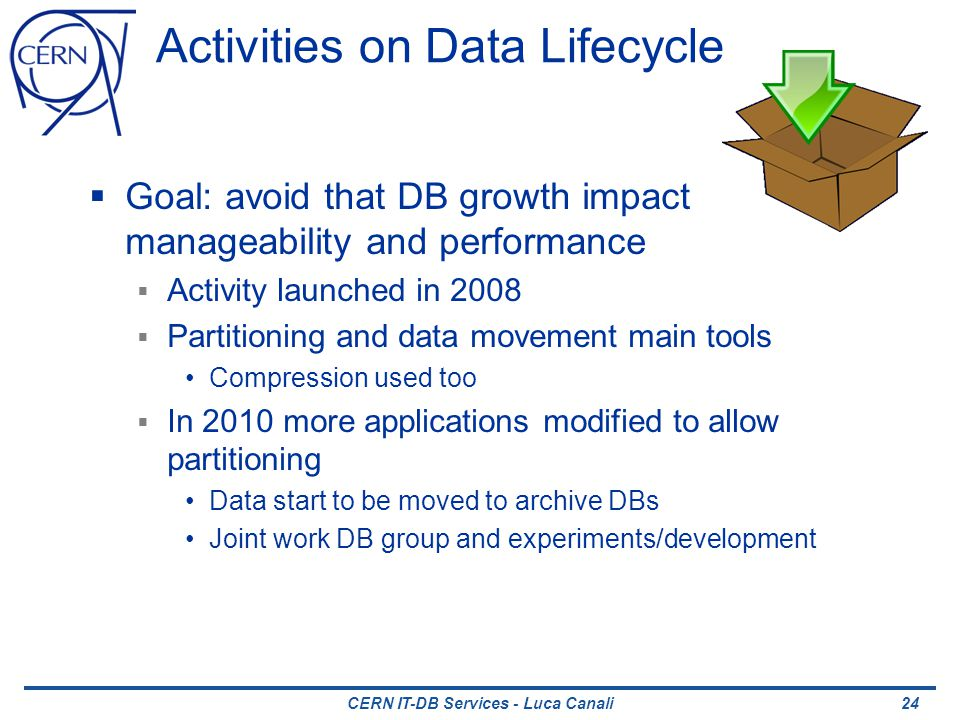 CERN IT-DB Services - Luca Canali Activities on Data Lifecycle Goal: avoid that DB growth impact manageability and performance Activity launched in 2008 Partitioning and data movement main tools Compression used too In 2010 more applications modified to allow partitioning Data start to be moved to archive DBs Joint work DB group and experiments/development 24