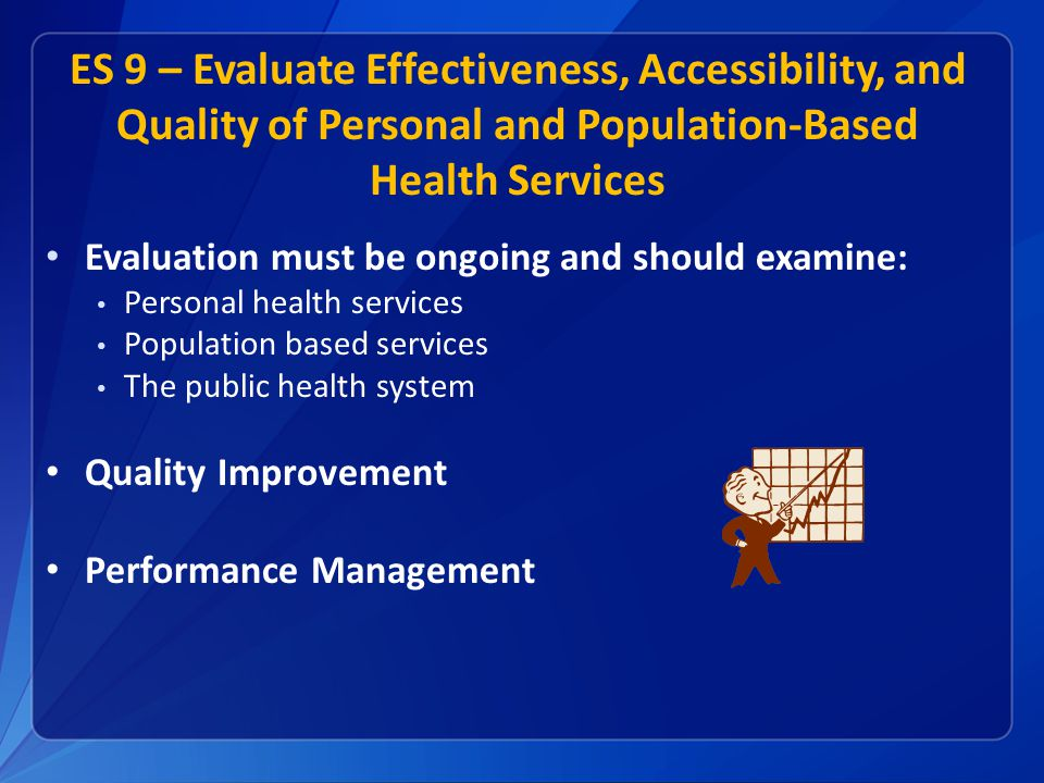 ES 9 – Evaluate Effectiveness, Accessibility, and Quality of Personal and Population-Based Health Services Evaluation must be ongoing and should exami