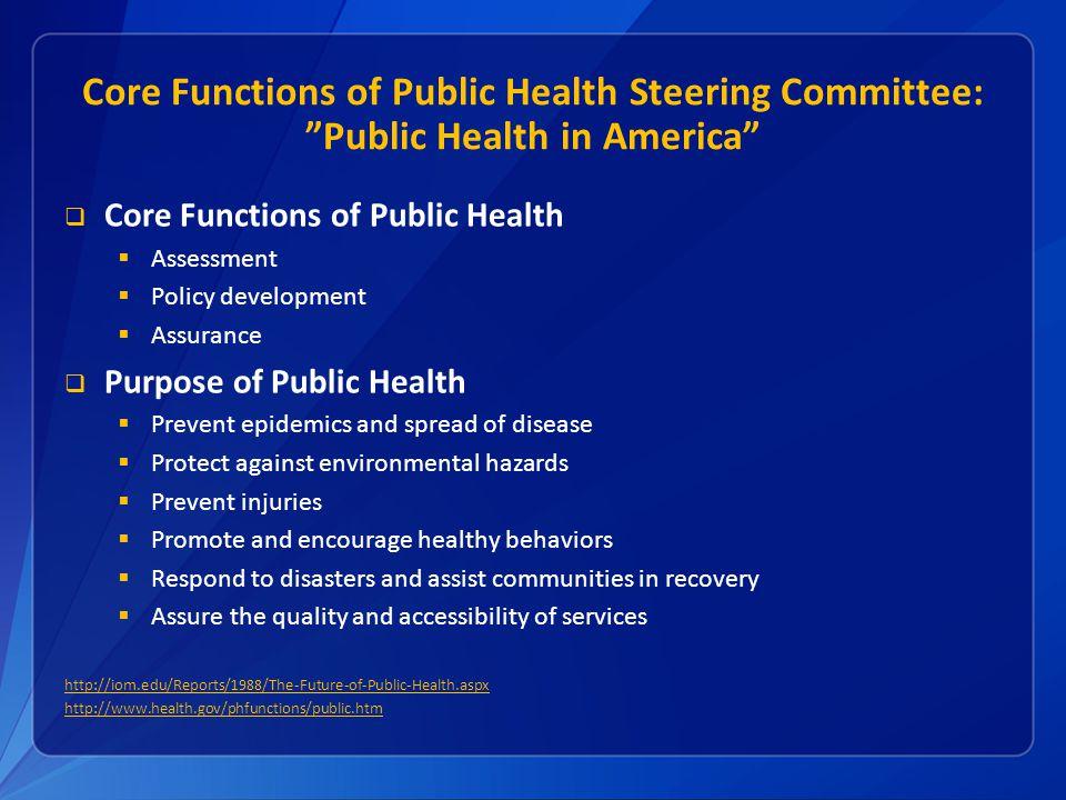 http://iom.edu/Reports/1988/The-Future-of-Public-Health.aspx http://www.health.gov/phfunctions/public.htm Core Functions of Public Health Assessment P