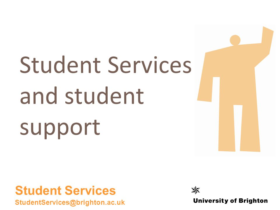 The student support network Student Services Accommodation Friends and coursemates Students Union Information Services Staff in your academic department Student support and guidance or personal tutors Student Student Services StudentServices@brighton.ac.uk