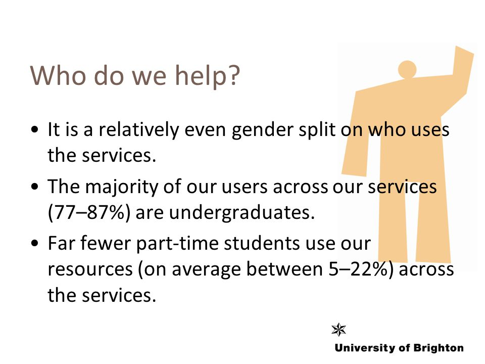 Who do we help. It is a relatively even gender split on who uses the services.